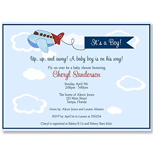 Airplane Baby Shower Invitations, Up Up and Away Invites, Little Pilot, Baby Boy, Vintage, Fly, Retro, Red, Navy, Blue, Personalized, Customized, 10 Printed Invites and Envelopes, Airplanes ()