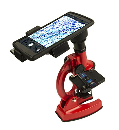 Smart Phone Adaptable Long-Lasting Metal 100X - 900X Microscope with Hard Plastic Carrying Case (Kids Microscope Micropro)