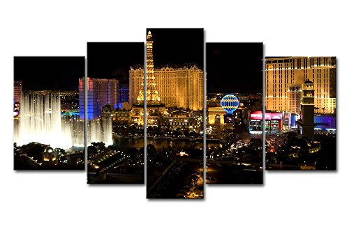 (So Crazy Art 5 Piece Wall Art Painting Las Vegas Nice Night Scene Pictures Prints On Canvas City The Picture Decor Oil For Home Modern Decoration Print For Furniture )