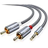 JSAUX RCA Cable, [6.6ft, Dual Shielded Gold-Plated] 3.5mm Male to 2RCA Male Stereo Audio Adapter Cable Nylon Braided AUX RCA Y Cord for Smartphones, MP3, Tablets, Speakers, HDTV [Grey]
