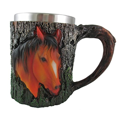 Grand America Christmas Tea Party - Horse Lover Coffee Mug, 3D Novelty Animal Tea Cup, Large Portable Leak Proof Drinking Glass, Stainless Steel Liner