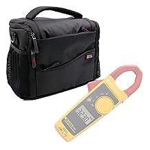 Water-Resistant Carry Bag in Black & Orange for Fluke 323 True-rms Clamp Meter, Fluke 324 and Fluke 325 -by DURAGADGET