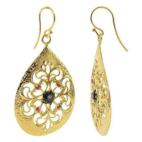 18k Gold Vermeil Simulated Ruby Teardrop Dangle Earrings Filigree Design with French Wire (Gold Vermeil French Hook)