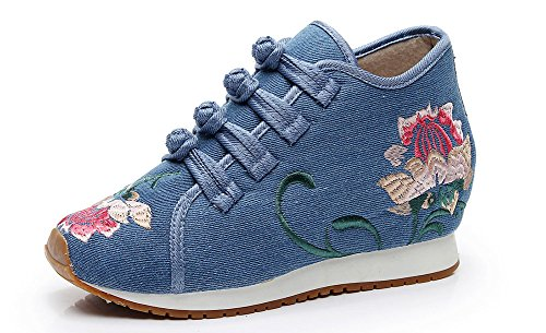 Buckle Non AvaCostume Sneakers Embroidery Womens Blue AvaCostume Slip Womens Flower qPPtIZvx