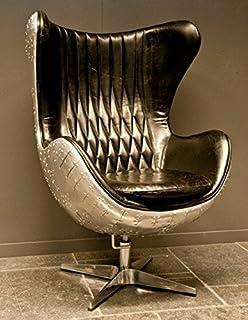 Lounge sessel retro schwarz  Casa Padrino Art Deco Egg Chair Drehstuhl Sessel Aluminium / Echt ...