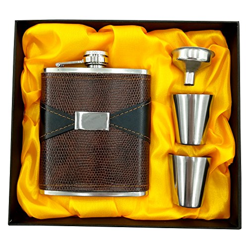 Party Bar. Vintage Portable Leather Stainless Steel Flagon, Hip Flask Alcohol Whiskey Liquor Wine Pot, 8 oz Flagon Pocket Bottle With Gift Box (Classic) ()