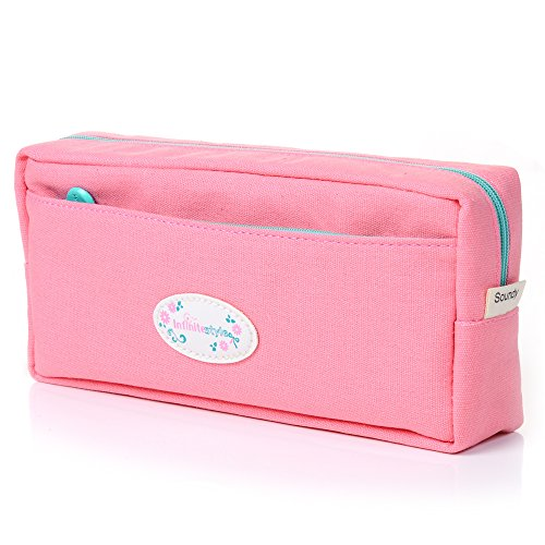 Student Pen Pencil Case Canvas Coin Purse Pouch Cosmetic Makeup Stationery Bag Case by Badalink - Pink