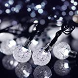 Lalapao 2 Pack Solar Powered Globe String Lights 30 LED 19.7ft Crystal Ball Christmas Fairy String Light for Outdoor Xmas Tree Garden Path Patio Home Lawn Holiday Wedding Decor Party (White)