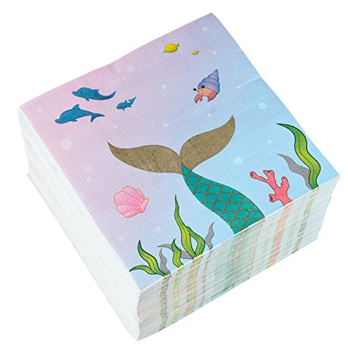 Little Mermaid Luncheon Napkins - Blue Panda Cocktail Napkins - 150-Pack Luncheon Napkins, Disposable Paper Napkins Kids Birthday Party Supplies, 3-Ply, Mermaid Design, Unfolded 13 x 13 Inches, Folded 6.5 x 6.5 Inches