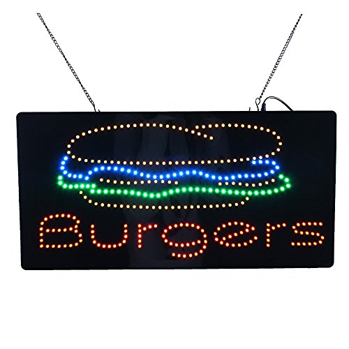LED Burger Sign, Super Bright Hign Quality LED Open Sign Store Sign Business Sign Electronic Billboard Bright Advertising Board Flashing Window Display Sign (24 x 12 -