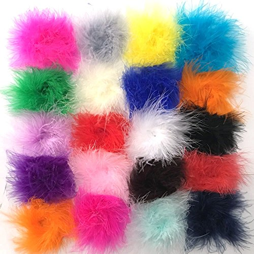 Yazon Marabou Feather Puffs DIY Crafting Feathers Assorted Feathers Flower Pack of 18pcs (marabou puff -