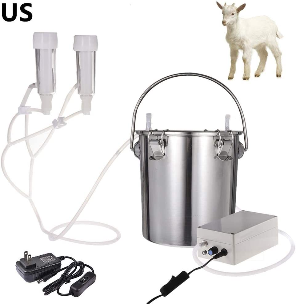 5L Milking Machine Kit for Cow Goat Sheep Portable Stainless Steel Bucket Suction Milker with 2 Teat Cups