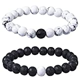 Bassion 2 Pcs Distance Relationship Bracelets Black Matte Agate & White Howlite Beads His and Hers Couple Bracelet