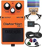 BOSS DS-1 Distortion Pedal BUNDLED WITH Blucoil 9V DC Power Supply Slim with Short Circuit Protection, Pedal Patch Cables (2-Pack), Celluloid Guitar Picks (4-Pack) AND Cord Management Ties (5 Pack)