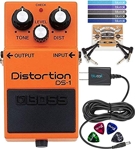 (BOSS DS-1 Distortion Pedal Bundle with Blucoil 9V DC Power Supply Slim with Short Circuit Protection, Pedal Patch Cables (2-Pack), Celluloid Guitar Picks (4-Pack) and Cord Management Ties (5)