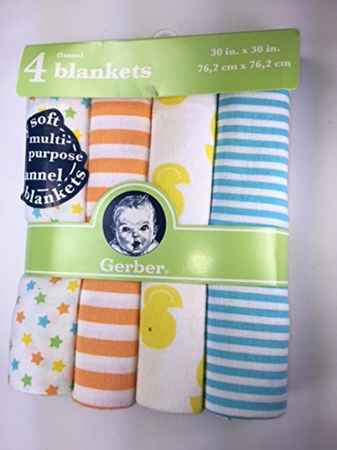 Baby Gift Bundle - 2 Items Gerber 4-pack Flannel Blankets and Gerber Fitted Crib Sheet