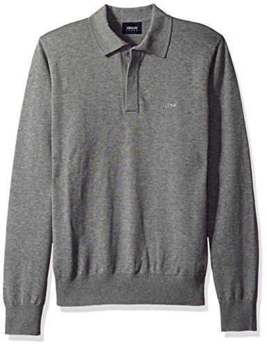 ARMANI JEANS Men's Regular Fit Long Sleeve Basic Polo, Grey, Medium