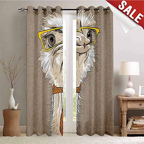 (Hengshu Indie Window Curtain Fabric Sketch Portrait of Funny Modern Ostrich Bird with Yellow Eyeglasses and Tie Drapes for Living Room W108 x L96 Inch Taupe Beige Yellow)