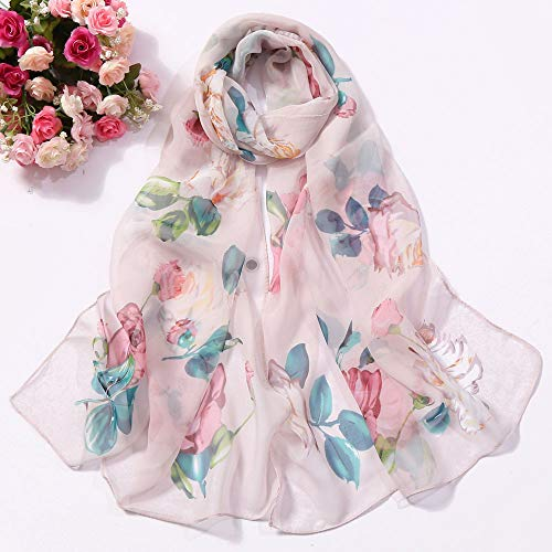 HYIRI Fashion Women's Roses Printing Long Soft Wrap Scarf Simulation Silk Shawl Scarves Small Fresh scarf