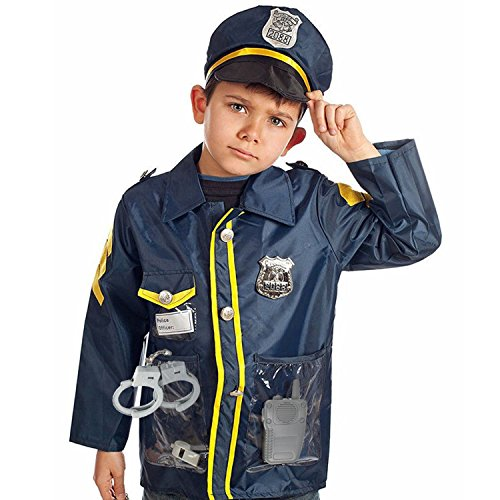 Authentic Police Uniform (Police Officer Dress Up Costume Set Great for Role Play, Includes Police Hat and Jacket, Handcuffs, Walkie Talkie, Whistle)