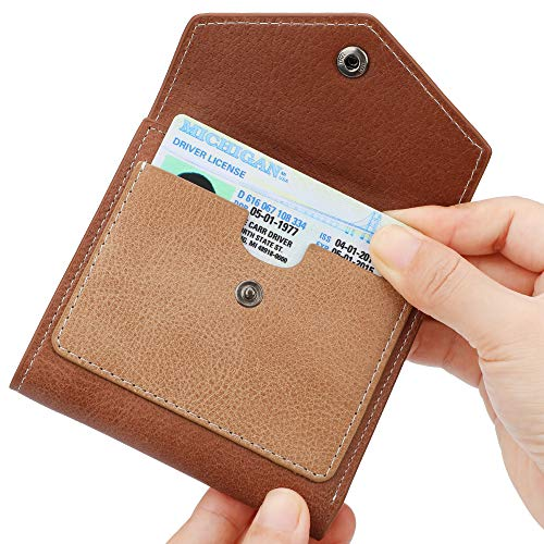 Coin Quick (Lavemi RFID Blocking Small Compact Mini Bifold Credit Card Holder Leather Pocket Wallets for Women with Quick access ID Slot(1-Envelope Vintage Brown))