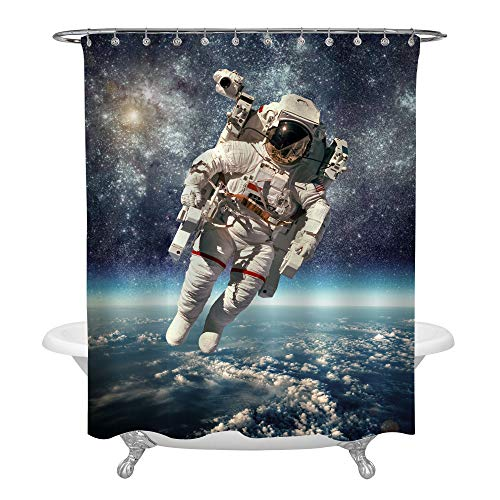 NASA Astronaut in Outer Space Against Backdrop of Planet Earth Bathroom Shower Decorations, Watercolor Spaceman Shower Curtain with Galaxy, Blue Waterproof Polyester Fabric, 72