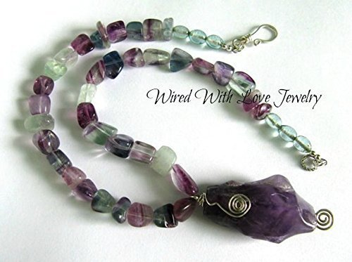 Amethyst Quartz Pendant & Fluorite Nugget Bead Necklace, one of a kind