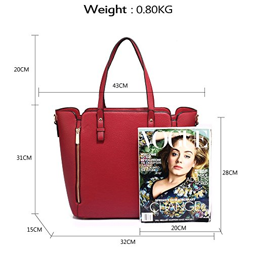 Large Burgundy For Designer Unique Front New Bag Style Leather Design Gorgeous Handbag Look Shoulder Faux Women 1 Ladies Zipper grUgqxSwE