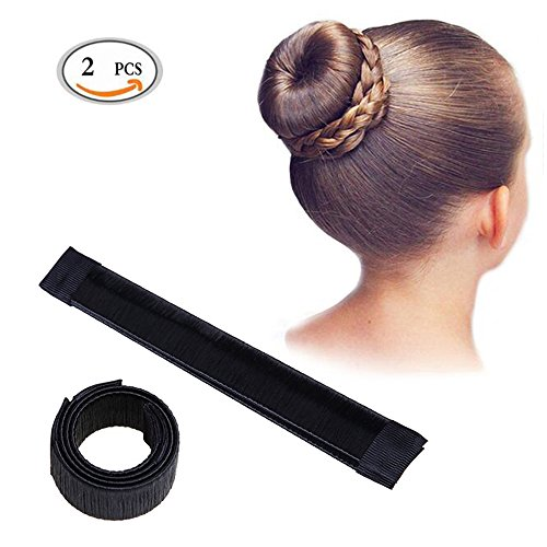 HEHUB Hair Styling Disk Bun Shaper Maker Hairstyle Clip Donut Hair Style Tools 2Pcs Black