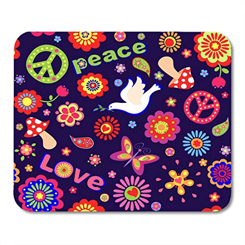 Boszina Mouse Pads Peace Power Childish with Colorful Abstract Flowers Hippie Symbolic Mushrooms and Dove Butterfly Sixties Mouse Pad for notebooks,Desktop Computers mats 9.5