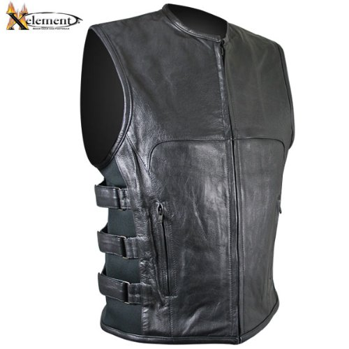Xelement B95080 Mens Black Advanced Triple Strap Design Leather Motorcycle Vest - (Mens Advanced Xelement Motorcycle)