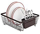 Kitchen Details Flat Wire Dish Rack with Cutlery Holder, Bronze, 14x12x5.5 by Kitchen Details