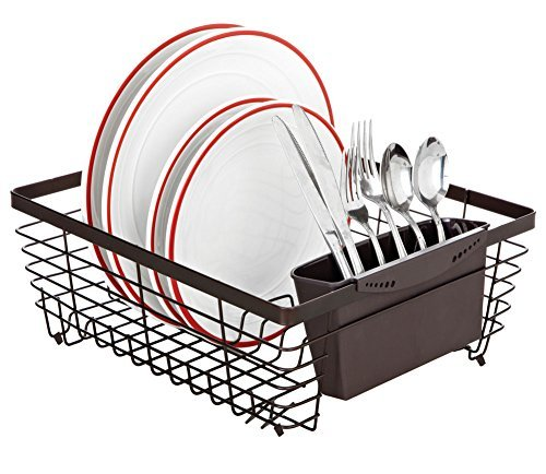 Kitchen Details Flat Wire Dish Rack with Cutlery Holder, Bronze, 14x12x5.5 by Kitchen Details by Home Collection
