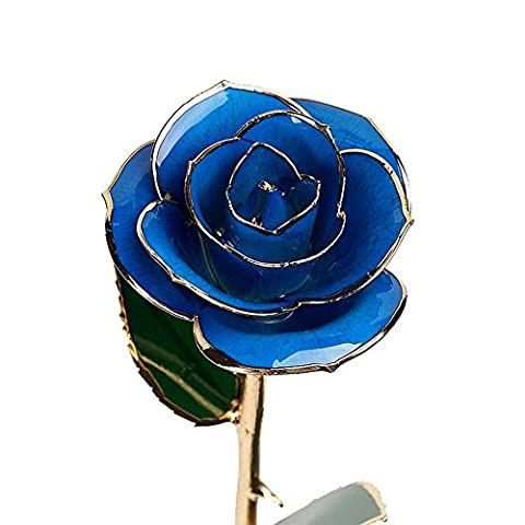 Blue Long Stem Dipped 24K Gold Trim Genuine Rose Enchantress Flora with Thorns in Gift Box Best Gift for Valentine's Day, Mother's Day, Anniversary, Birthday Gift (Blue)