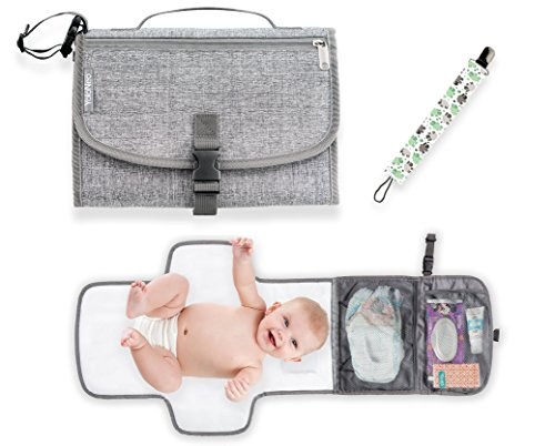 Portable Baby Diaper Changing Pad by YoloNeo | Waterproof Travel Mat Station with Head Cushion, 3 Pockets | Grey