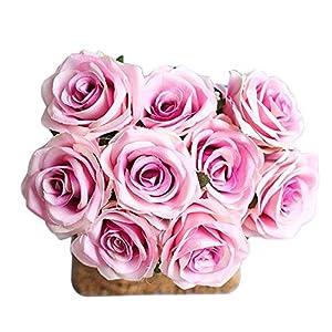 Forart 9pcs Artificial Rose Flower Bouquet Simulation Flowers Silk Fake Flowers Craft Home Wedding Party Decoration 49