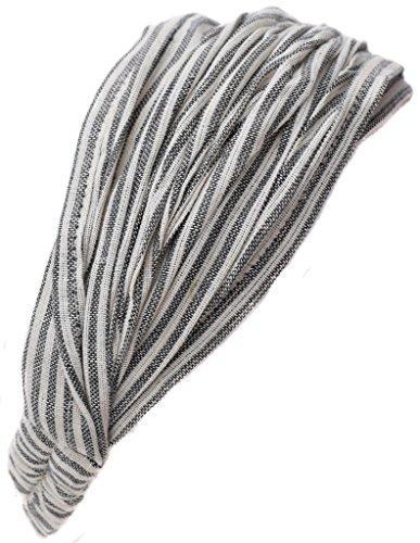 (Little Kathmandu Cotton Elastic Hippie Bohemian Bandana Headband Light Grey Pin Striped)