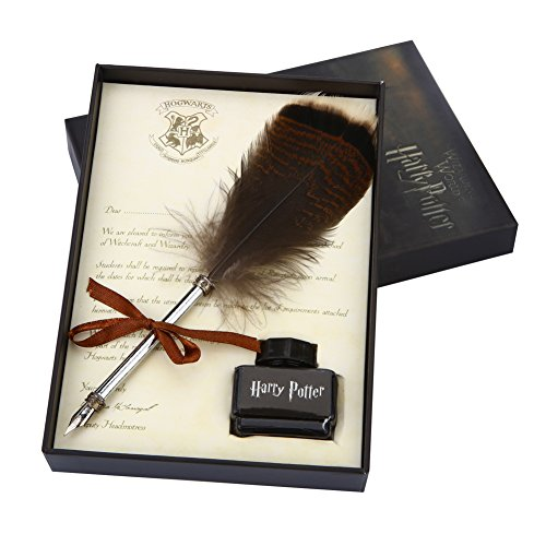 Antique Dip Feather Pen Set Writing Quill Ink Dip Pen Harry Potter Calligraphy Pen Set, Included Ink]()