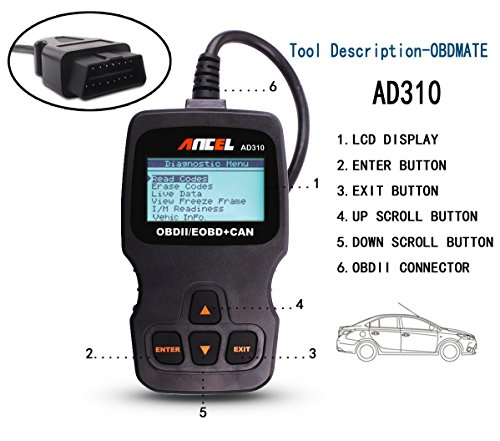 Scan Tool, Father's Day Gift Saving OBD2 Code Reader Scanner Direct Scan and Read Out Ancel AD310