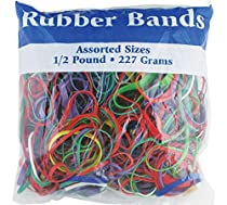 BAZIC Assorted Dimensions 227g/0.5 lbs. Rubber Bands, Multi Color
