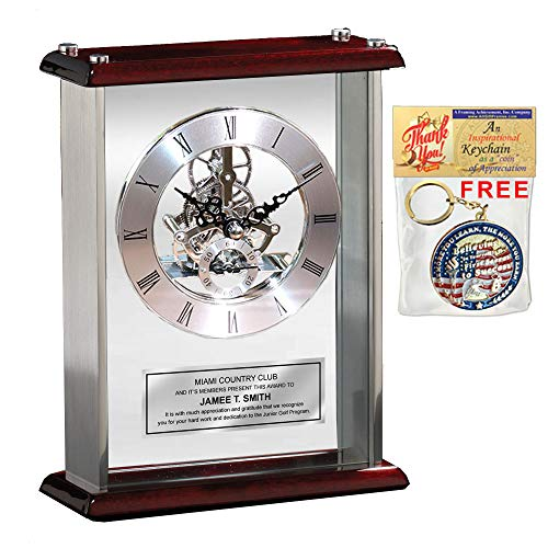 AllGiftFrames Employee Service Award Recognition Retirement Gift Personalized Engraved Desk Clock Silver Engraving Plate Large Silver DaVinci Desk Clock Encased Glass Chrome Wood Cherry Top and Base