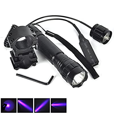 1 Set (1Pc) Persuasive Fashionable 600LM UV LED Flashlights Coated Glass Lens SWAT Torch Waterproof Aluminum Alloy Hunting Light Colors Black with Mount and Pressure Switch