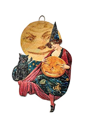 Halloween Ornament Decoration Pretty Witch with Moon and Black Cat
