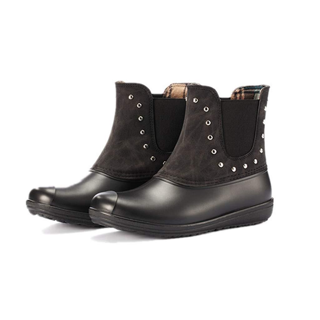 Black Rivets Women's Winter Warm Lining Rivet Buckle Snow Boots Fashion Style Waterproof Slip-on Zip Ankle Bootie