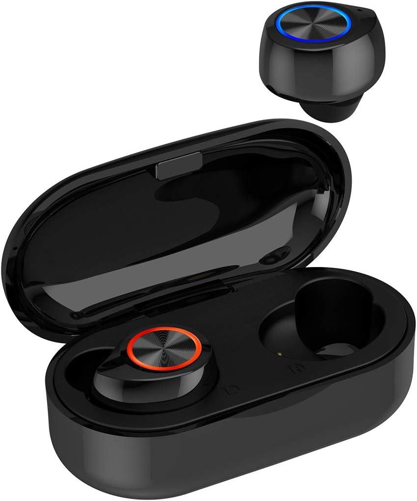 QueenDer Auriculares Bluetooth, Auriculares Inalámbricos Bluetooth con Micrófono HiFi Mini In Ear Touch Control Auriculares Resistente al Agua con Caja de Carga Portátil para iOS Android (Negro)