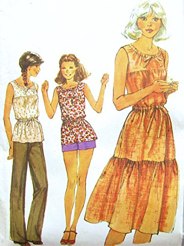 Simplicity 8483 Misses' 1970s Pull Over Dress or Blouse, Pants and Shorts Sewing Pattern, Size 8, Bust 31.5 Vintage (70s Pullover)