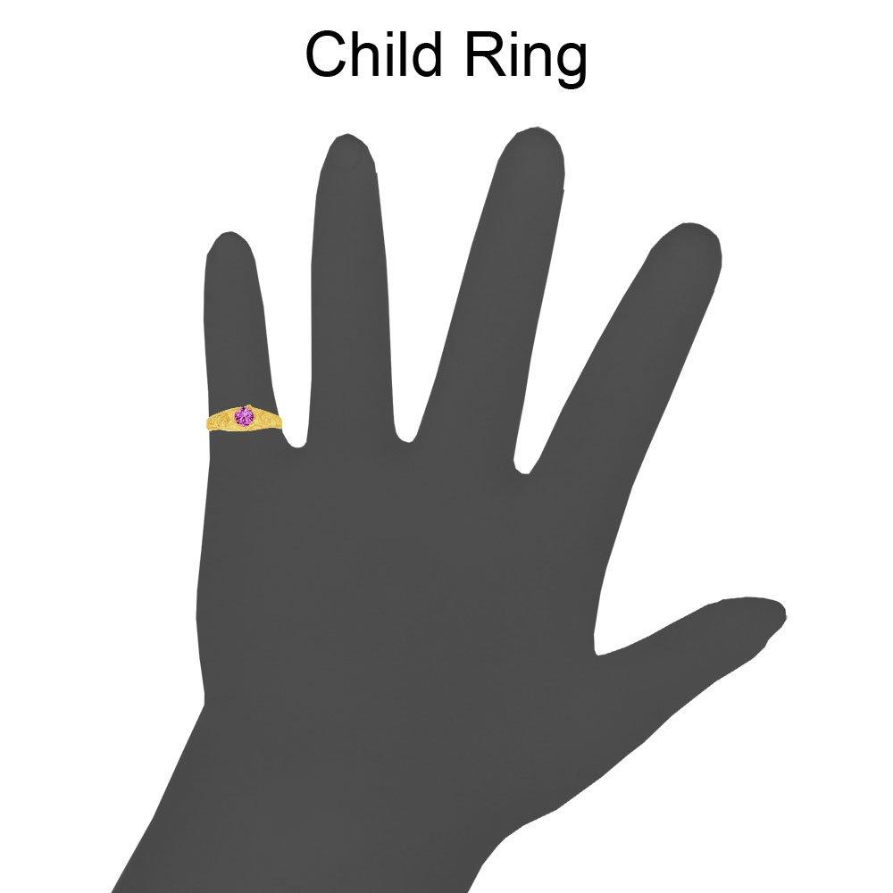 14k Yellow Gold Mini Size Baby Ring Created Purple CZ Band Design