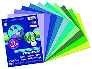 Pacon Tru-Ray Construction Paper Assortments, 9-Inches by 12-Inches, 50-Count, Cool Assorted (102942)