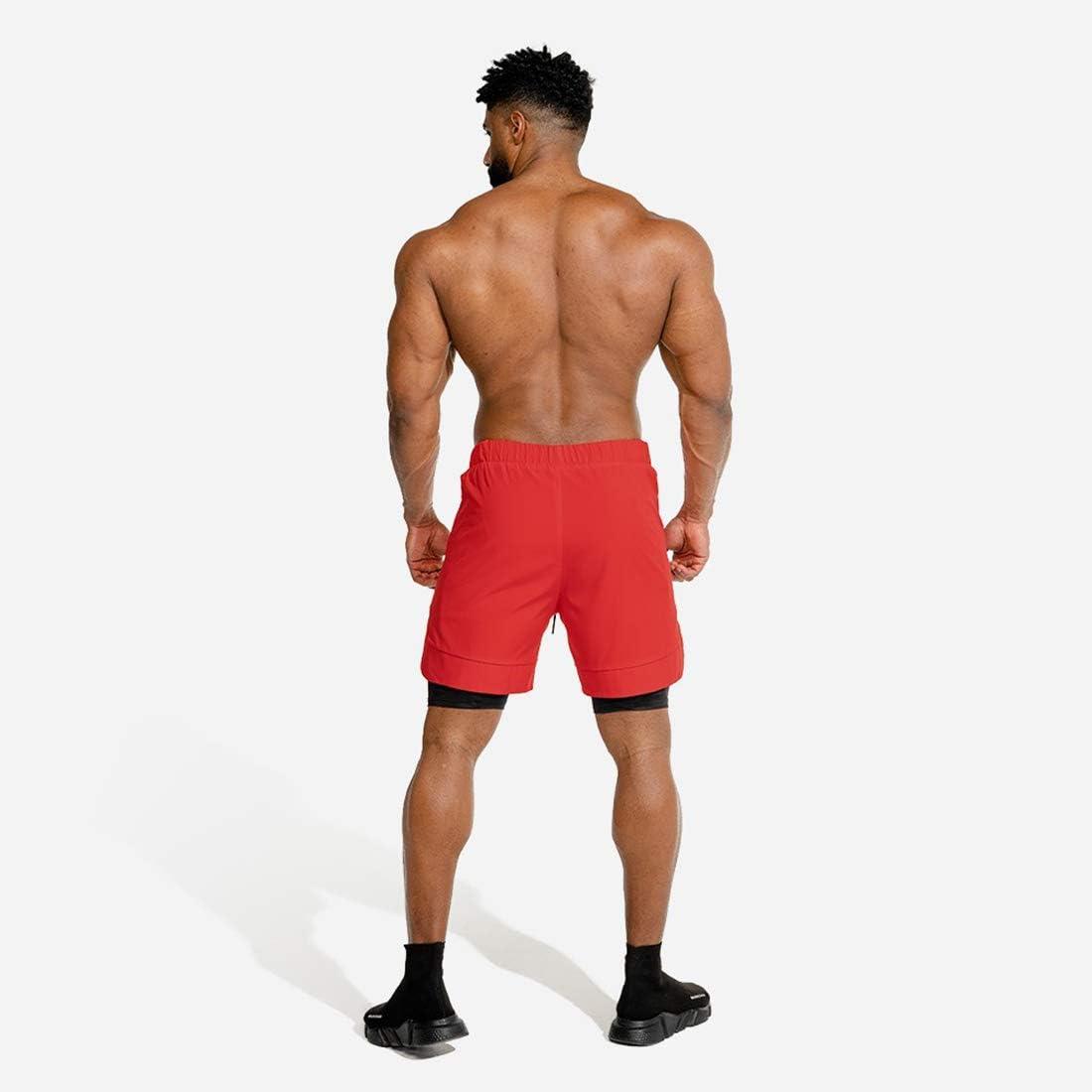 Laufshorts mit Tasche ultraleichte Trainings-Jogging-Radhose Herren-Sportshorts atmungsaktive Doppelschicht-Turnhose