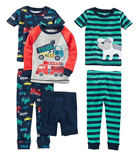 Toddler Boys Cotton Pajamas - Simple Joys by Carter's Baby Boys' Toddler 6-Piece Snug Fit Cotton Pajama Set, Transportation/Dog, 3T